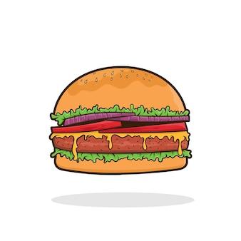 햄버거 벡터 고립 된 패스트 푸드