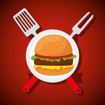 Гамбургер с вилкой и посудой