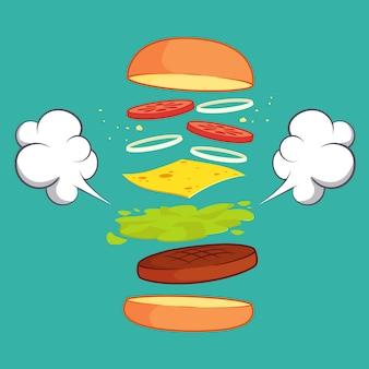 Hamburger with ingredients set vector illustration design