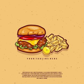 ハンバーガーとフライドポテトのイラストプレミアム