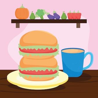 Hamburgers and coffee