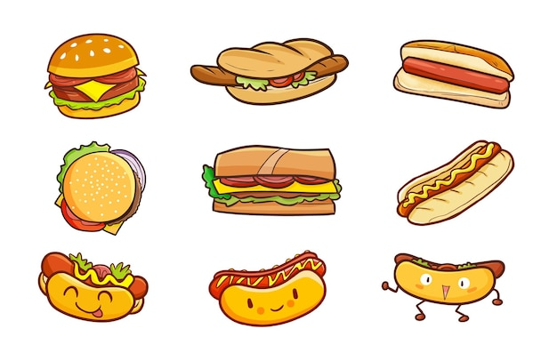 Hamburgers and hotdogs in simple doodle style
