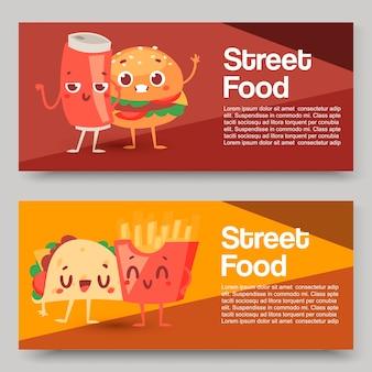 Персонаж гамбургера, набор баннеров