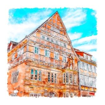 하멜른 독일 수채화 스케치 손으로 그린 그림