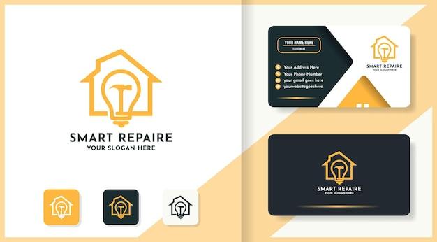 ハンマー電球の家の組み合わせのロゴと名刺のデザイン