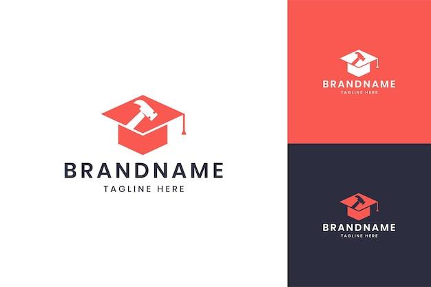 Hammer education negative space logo design