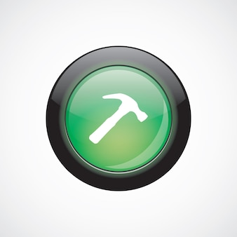 Hammer glass sign icon green shiny button. ui website button