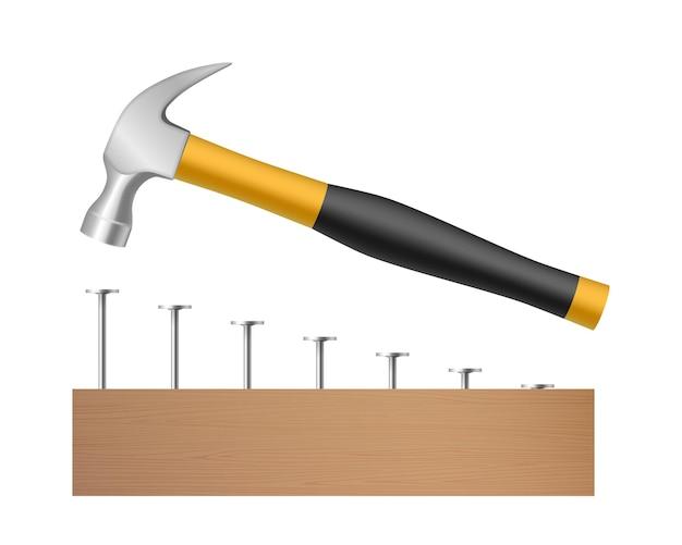 白い背景で隔離の木の板に鋼の釘を打つハンマー。大工産業の要素と改修のシンボルの概念。リアルなベクトル図