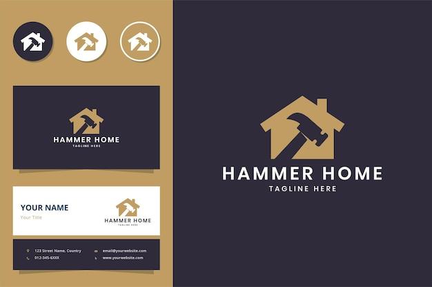 Молоток дом негативное пространство дизайн логотипа