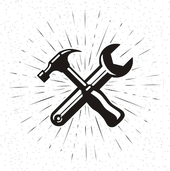Hammer icon in doodle style