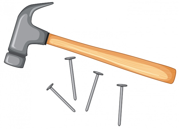Hammer and nails isolated