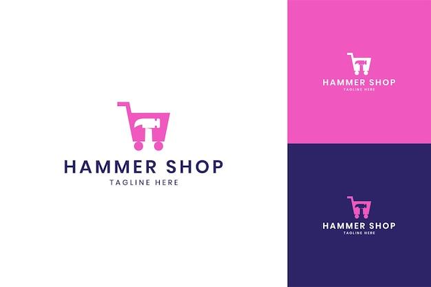Hammer shop negative space logo design