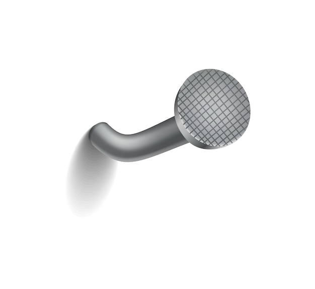 Hammered nail on surface. iron, steel or silver pin head. bent metal spike or hobnail with cap in cartoon style. vector top view grey hardware for home construction, isolated on white background