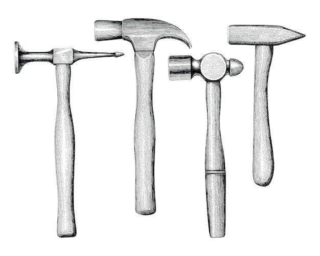 Hammers hand drawing vintage style isolate on white background