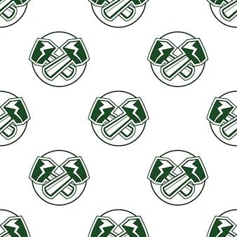 망치 원활한 패턴 배경, 벽지입니다. 축구 스포츠 레이블 스타일입니다. 스톡 벡터 흰색 절연