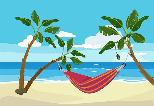 Гамак на пляже. тропическое место отдыха между пальмами на открытом воздухе экзотический закат векторный мультфильм. гамак на пляже на берегу моря