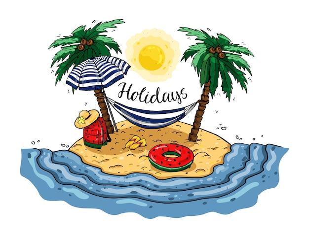 Гамак между пальмами. пляжный отдых.