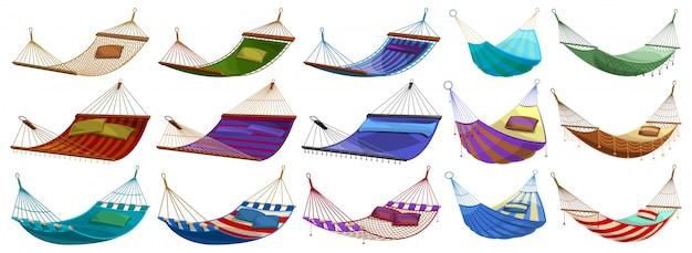 Гамак мультфильм набор иконок. иллюстрация веревка кровать на белом фоне. мультфильм установить значок гамак.