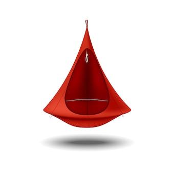 ハンモックチェアの赤い色。残りと旅行のための家具。