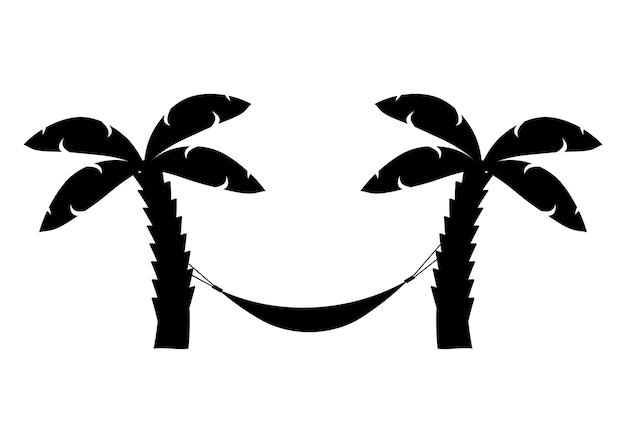 Значок гамака в черном цвете гамак между пальмами значок символа расслабляет пальмы на пляже