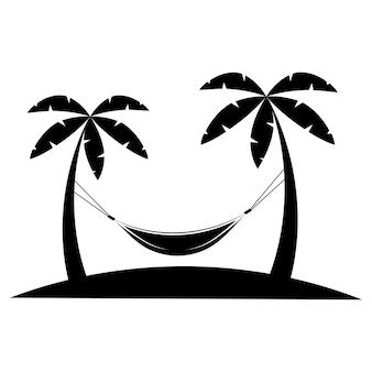 Значок гамака в стиле глифов гамак между пальмами в черном цвете пальмы на пляже