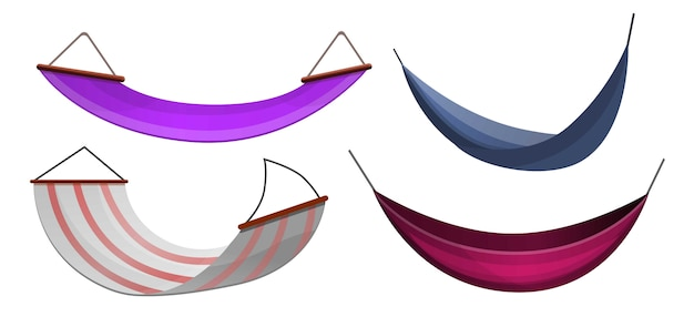 Hammock icon set, cartoon style