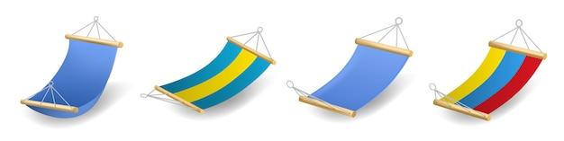 Hammock icons set, realistic style