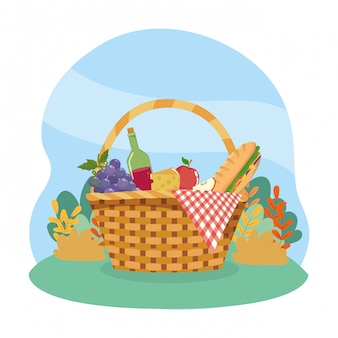 Hamper with grapes and wine bottle with sandwinch