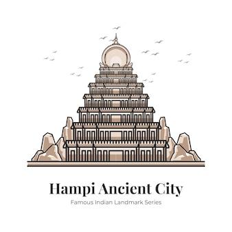 Hampi 고대 도시 인도 랜드마크 상징적인 만화 삽화