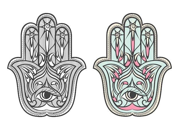 ハムサ、ファチマ手のお守りベクトルシンボルセット。目のハムサ、お守りのハムサ、お守りのハムサ、手のファチマのイラスト