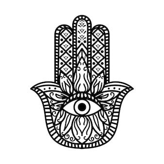 Hamsa 파티마 손 전통 부적 흑백. 모든 보는 눈을 가진 종교적 기호 팔. 신비한 생물로부터의 보호의 상징. 빈티지 보헤미안 스타일 흑인과 백인