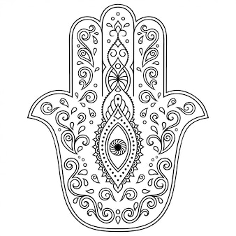 Hamsa hand drawn symbol with flower.