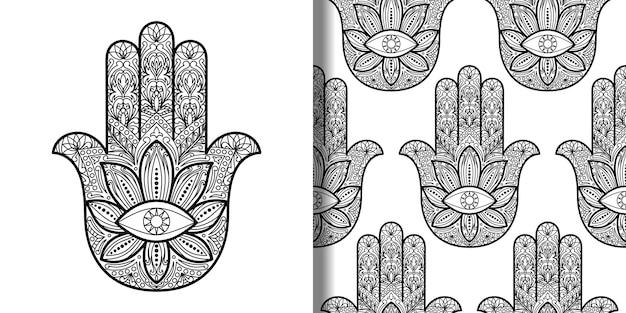 Hamsa hand of fatima 인쇄 및 원활한 패턴 세트