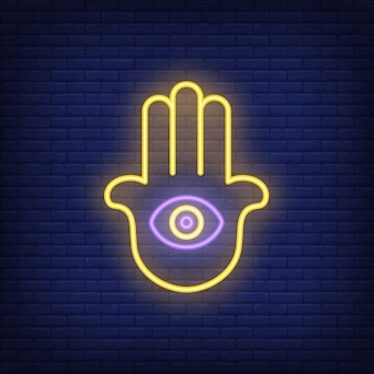 Hamsa hand with eye neon sign