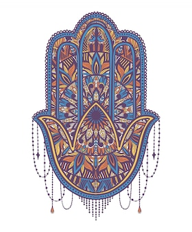 Hamsa talisman religion asian. symbol of protection and talisman against the evil eye.