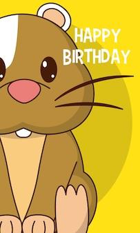Hamster happy birthday cute card