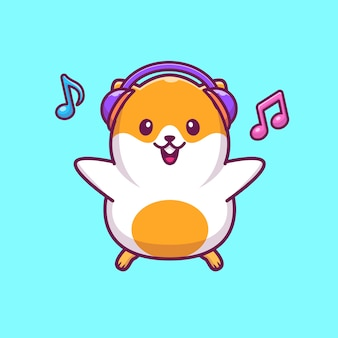 Hamster listening music icon illustration. hamster mascot cartoon character. animal icon concept isolated