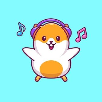 Хомяк прослушивания музыки значок иллюстрации. хомяк талисман мультипликационный персонаж. животное иконка концепция изолированные