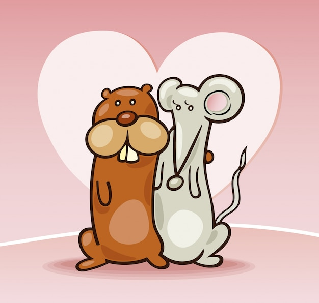 Hamster and mouse in love