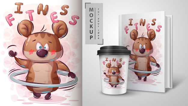 Hamster rotates a hoop illustration and merchandising