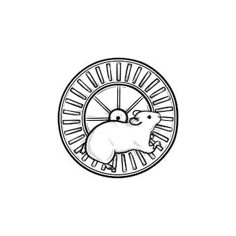 햄스터 휠 손으로 그린 개요 낙서 아이콘입니다. 운동 장치 및 기타 설치류 개념으로 바퀴를 실행합니다. 인쇄, 웹, 모바일 및 흰색 배경에 인포 그래픽에 대한 벡터 스케치 그림.