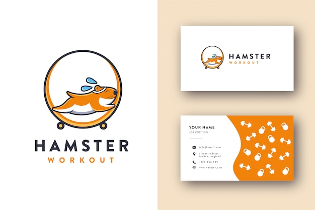 Hamster workout mascot logo and business card