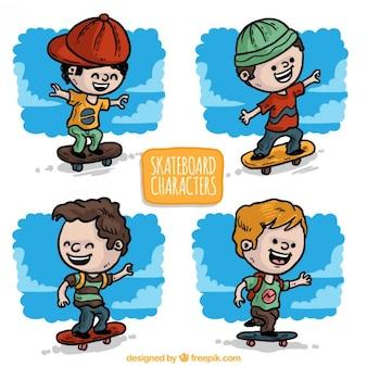 Han drawn nice skater kids