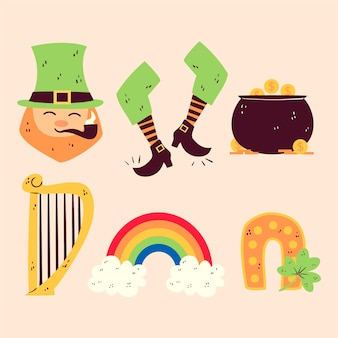 Han drawn st. patrick's day element collection