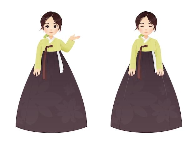 Корейская традиционная одежда для девочек ханбок. азиатская женщина в ханбоке. векторная иллюстрация.