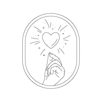 손과 사랑의 마법. 라인 아트 스타일. 심장과 스타 더스트가있는 신비로운 손.