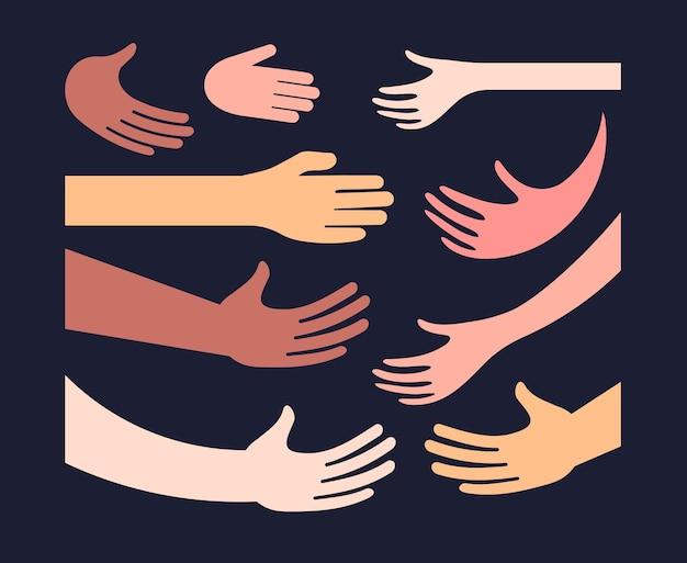 手と手のひらの異なる色の肌セット握手