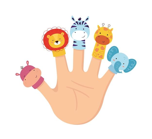 手動物人形。子供の指劇場。家族のレジャー。ライオン、カバ、キリン、シマウマ、象の人形。手描きスタイルの白い背景で隔離のベクトル図