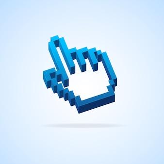 Курсор пикселя стрелки руки изолированный на голубом