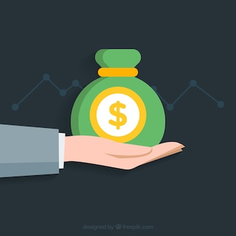 Hand background with green bag of money